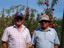 Andy with Tony Gilbertson @ his orchard near Hastings
